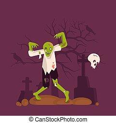 zombie, begrepp, kyrkogård, bakgrund, man