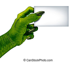 Zombie Blank Card - Zombie hand holding a blank card sign on...