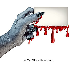 Zombie Blood Card - Zombie monster hand holding a blank...