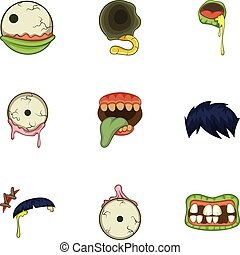 Zombie body part icons set, cartoon style