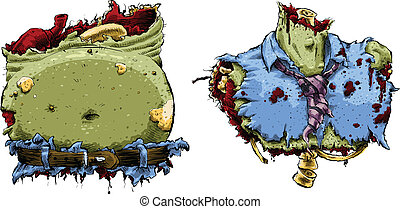 Zombie Body Parts - A zombie upper and lower torso.