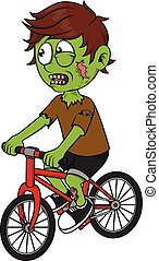 Zombie boy playing bicycle