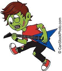 Zombie boy playing guitar