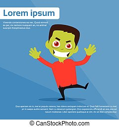 Zombie Boy Scary Cartoon Character Smile Flat