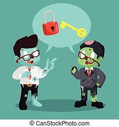 zombie businessman chatting unlocking lock