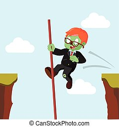 zombie businessman crossing the cliff