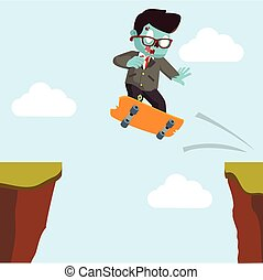 zombie businessman crossing the cliff with skateboard