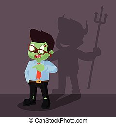 zombie businessman devil shadow