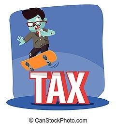 zombie businessman dodge tax with skateboard