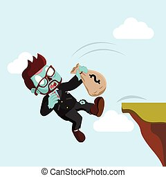 zombie businessman falling from cliff