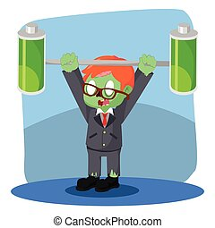 zombie businessman lifting two full batteries