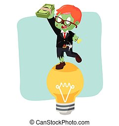 zombie businessman on bulb holding money