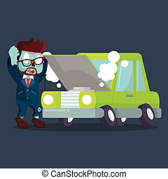 zombie businessman panicked broken car