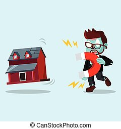 zombie businessman pulling miniature house with magnet