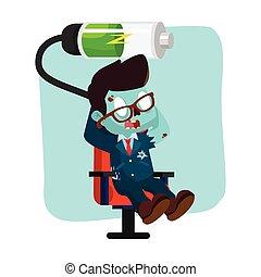 zombie businessman relaxing recharging battery
