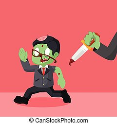 zombie businessman run from hand with knife
