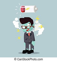 zombie businessman run out of battery