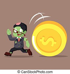zombie businessman running from giant coin
