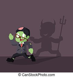zombie businessman running from his devil shadow