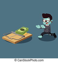 zombie businessman running right into trap