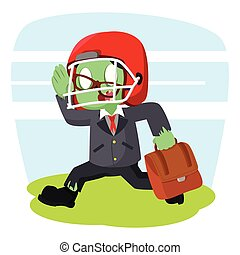zombie businessman running with football helmet
