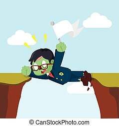 zombie businessman stuck between cliff