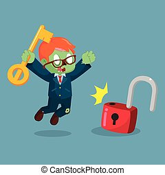 zombie businessman successfully unlocking lockpad
