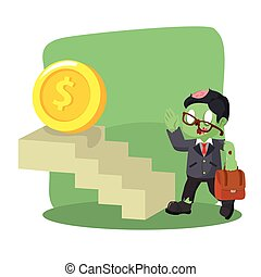 zombie businessman taking stairs to coin