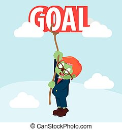zombie businessman trying to climbing goal