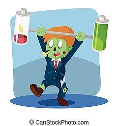 zombie businessman unbalanced battery