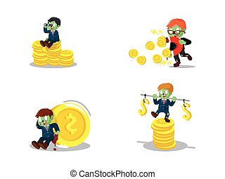 zombie businessman with coin cartoon set