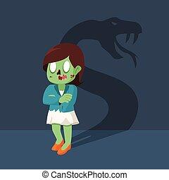 zombie businesswoman with shadow snake