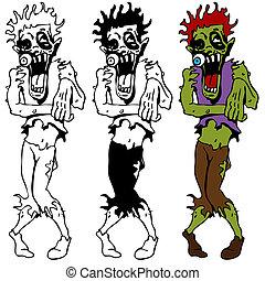 zombie, camminare, set, morto