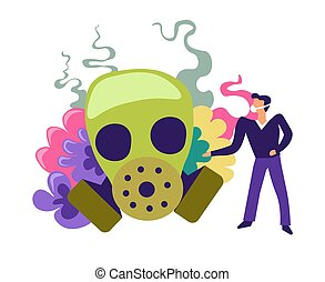 Zombie captured by person scientist studying dead creature body and features vector. Undead thing wearing protective mask, male avoiding odor of organism flesh. Defense and experiments of infection
