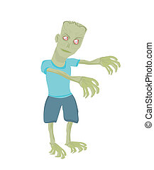 zombie, caricatura, isolado, branca