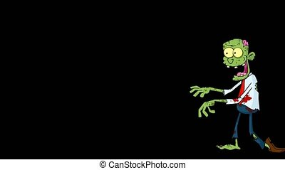 Zombie Cartoon Character Walking With Hands In Front. 4K Animation Video Motion Graphics Without Background