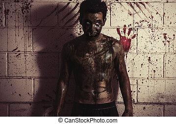 zombie, casa, uomo, frequentato, brutto