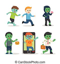 zombie character set illustration design