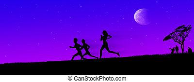 Zombie chase on horrific night