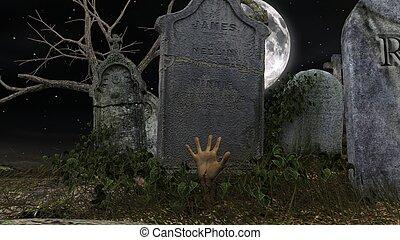 zombie at graveyard