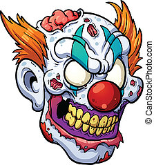 Zombie clown head. Vector clip art illustration with simple...