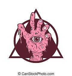 zombie, cor-de-rosa, vetorial, ilustração, mão
