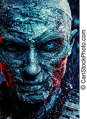 zombie covered with snow - Close-up portrait of a zombie man...