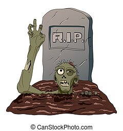 Zombie crawls from the grave isolated background. Vector illustration