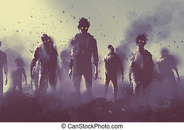 zombie crowd walking at night, halloween concept, illustration painting