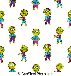 Zombie cute cartoon kid seamless pattern.