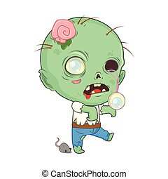 zombie, cute, halloween, illustration