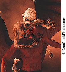 zombie, dämon, abbildung, kampf