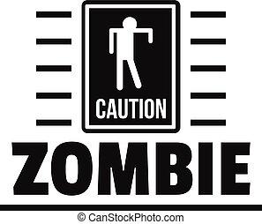 Zombie danger logo, simple black style