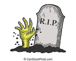 Zombie Dead man hand crawls out of grave color sketch engraving vector illustration. Scratch board style imitation. Black and white hand drawn image.